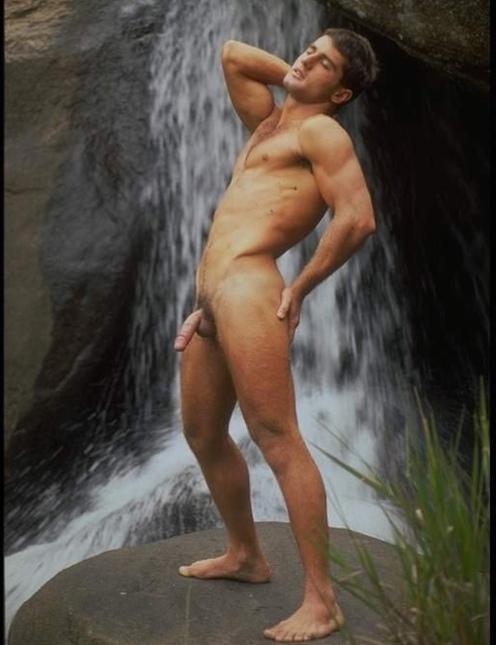 The nude women in waterfall