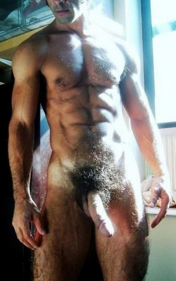 Sexy nude man with trimmed pubic hair